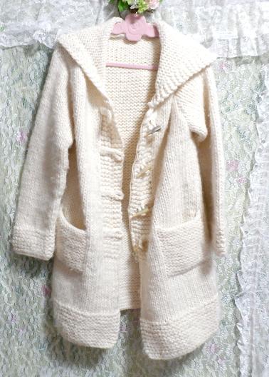 フローラルホワイト編みセーター風貝殻ボタンフード付き厚めカーディガン/アウター Floral white knit sweater hooded thick cardigan_画像2