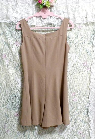 ベージュ亜麻色のシンプルな羽織カーディガンとワンピースキュロット2点セット Simple cardigan beige flax color culottes 2 piece set_画像4