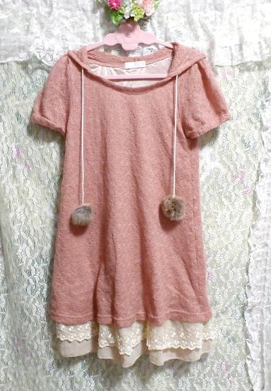 ラビットボンボンピンク裾白フリル半袖チュニック/トップス Rabbit bonbon pink hem white ruffle short sleeve tunic/tops_画像3