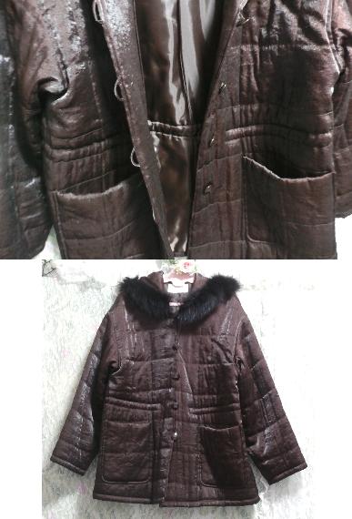 こげ茶色のフード付き光沢フワフワあっかたコート/外套 Dark brown hooded glossy fluffy coat_画像4