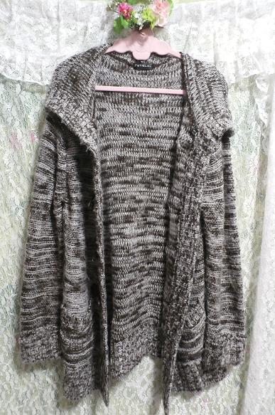 フード付き灰色白黒シマシマ貝殻ボタン手編み状ロングカーディガン/羽織 Hooded gray monochrome seashell button hand knit long cardigan_画像2