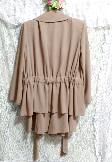 ベージュ亜麻色のシンプルな羽織カーディガンとワンピースキュロット2点セット Simple cardigan beige flax color culottes 2 piece set_画像2
