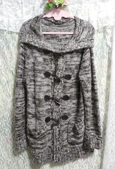 フード付き灰色白黒シマシマ貝殻ボタン手編み状ロングカーディガン/羽織 Hooded gray monochrome seashell button hand knit long cardigan_画像5