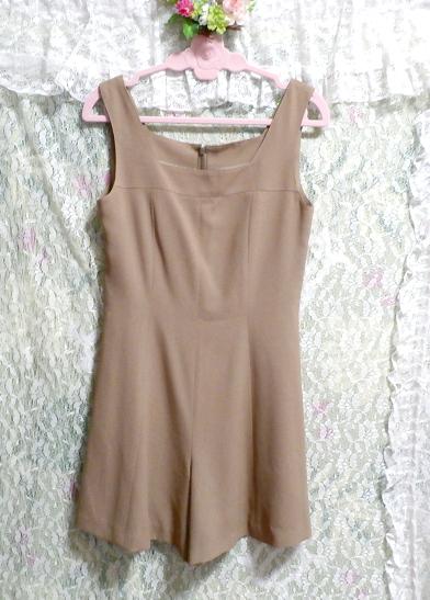 ベージュ亜麻色のシンプルな羽織カーディガンとワンピースキュロット2点セット Simple cardigan beige flax color culottes 2 piece set_画像3