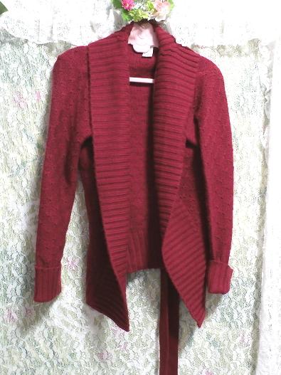 香港製赤紫ワインレッド色帯付きカーディガン/羽織 Made in Hong Kong red purple wine red color cardigan/coat_画像4