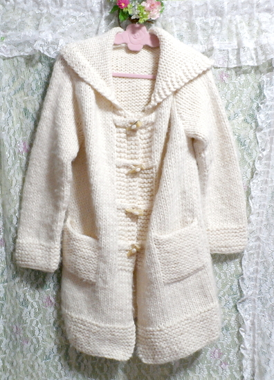フローラルホワイト編みセーター風貝殻ボタンフード付き厚めカーディガン/アウター Floral white knit sweater hooded thick cardigan_画像1