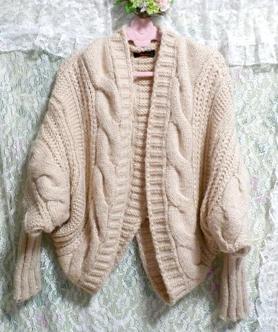 亜麻色ピンクセーター風逆ハート型カーディガン/アウター Flax color pink sweater style reversing heart type cardigan/outer_画像3