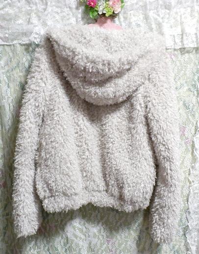 白グレーもこもこフワフワフード付きカーディガンコート/アウター White gray fluffy hooded cardigan coat/outer_画像3