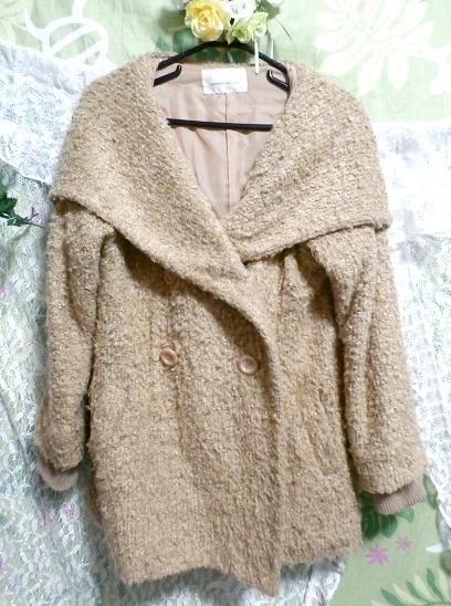 亜麻色黄土色フード付きフワフワあったかコート/ロングコート/外套 Flax color ocher color hooded fluffy coat/long coat_画像2