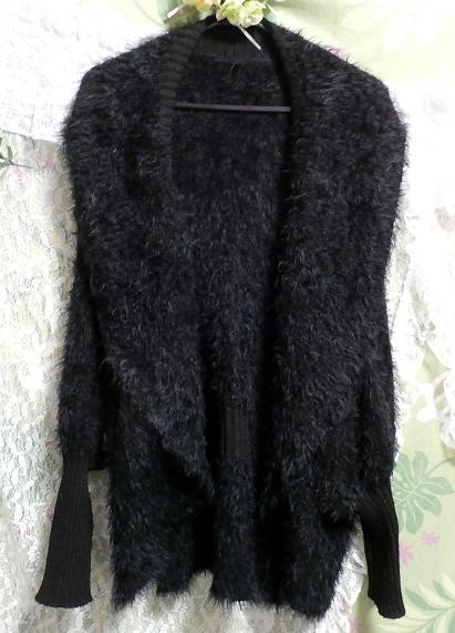 黒のあったか毛皮風カーディガン上着/羽織 Black warm cardigan jacket/coat_画像1