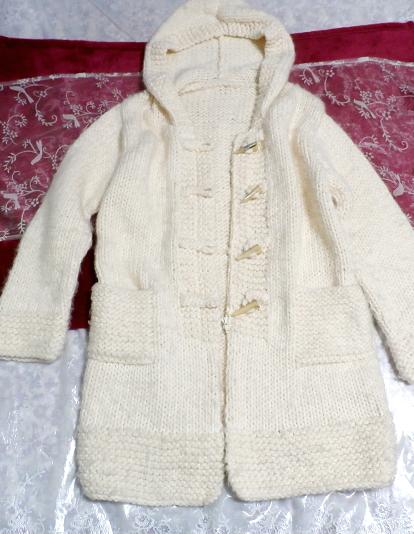フローラルホワイト編みセーター風貝殻ボタンフード付き厚めカーディガン/アウター Floral white knit sweater hooded thick cardigan_画像4
