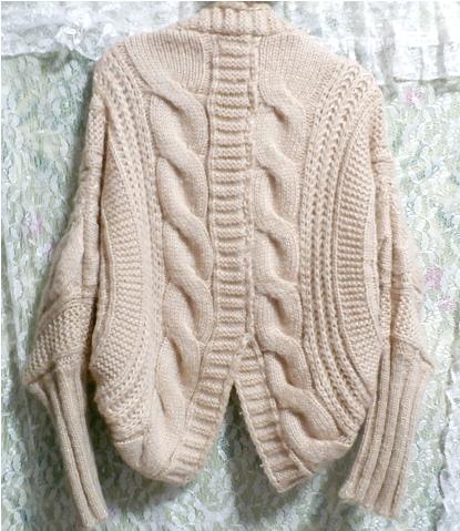 亜麻色ピンクセーター風逆ハート型カーディガン/アウター Flax color pink sweater style reversing heart type cardigan/outer_画像4