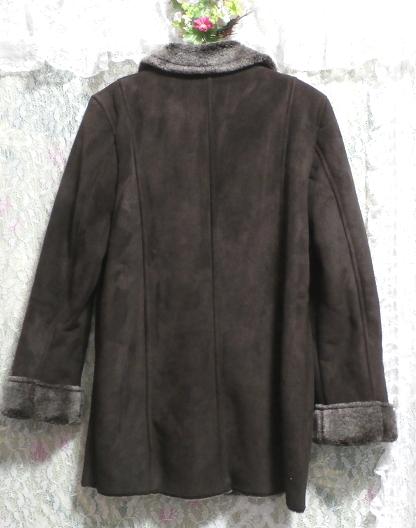 こげ茶色の襟形フワフワあったかコート/外套 Dark brown collar shape fluffy coat_画像2