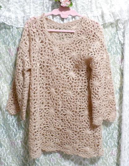 淡い茶色編みセーター/トップス/ニット Light brown braided sweater/tops/knit_画像1