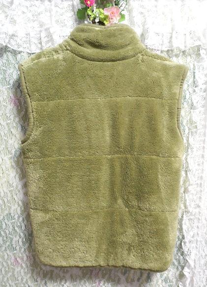黄緑山吹色のフワフワあったかベスト/羽織 Yellow green Yamabuki color fluffy vest_画像2