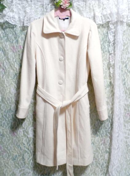 フローラルホワイト白ウールとアンゴラロングコート/アウター Floral white wool angola long coat/outer_画像4