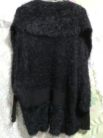 黒のあったか毛皮風カーディガン上着/羽織 Black warm cardigan jacket/coat_画像2