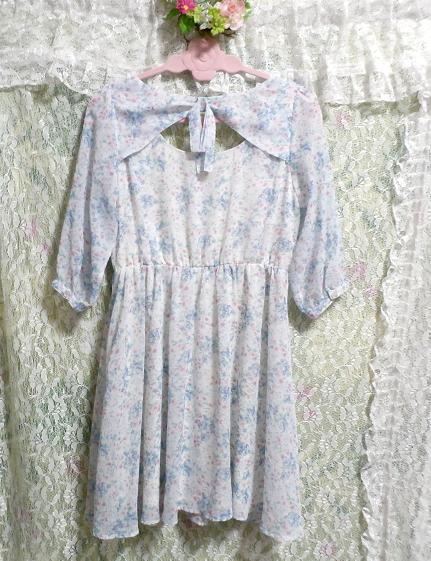 淡い水色花柄シフォンチュニック/トップス/ワンピース Light blue flower pattern chiffon tunic/tops/onepiece_画像2