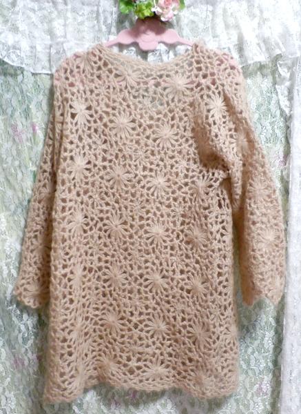 淡い茶色編みセーター/トップス/ニット Light brown braided sweater/tops/knit_画像2