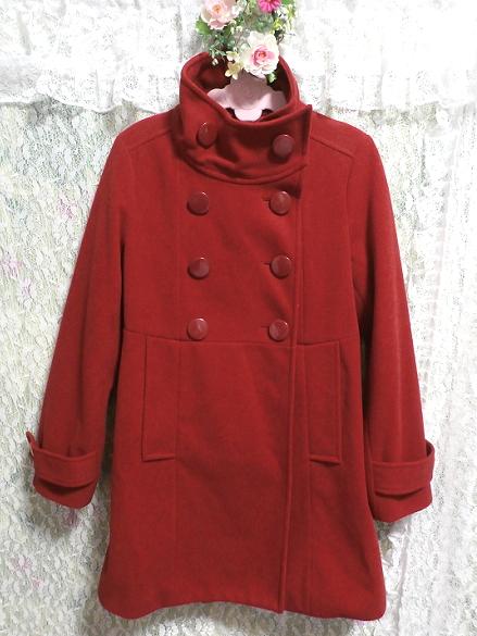 真っ赤なガーリー可愛いロングコート/外套 Crimson red girly cute long coat/crown_画像4