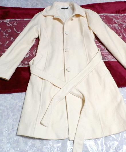 フローラルホワイト白ウールとアンゴラロングコート/アウター Floral white wool angola long coat/outer