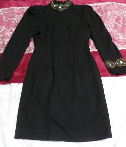 コスプレ用宝石付き黒ブラックローブセーター/トップス/ニット/ワンピース Cosplay jeweled black sweater/tops/knit/onepiece_画像3