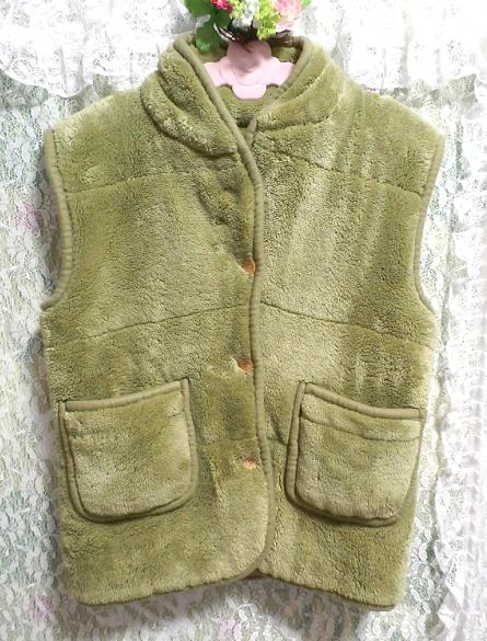 黄緑山吹色のフワフワあったかベスト/羽織 Yellow green Yamabuki color fluffy vest_画像1