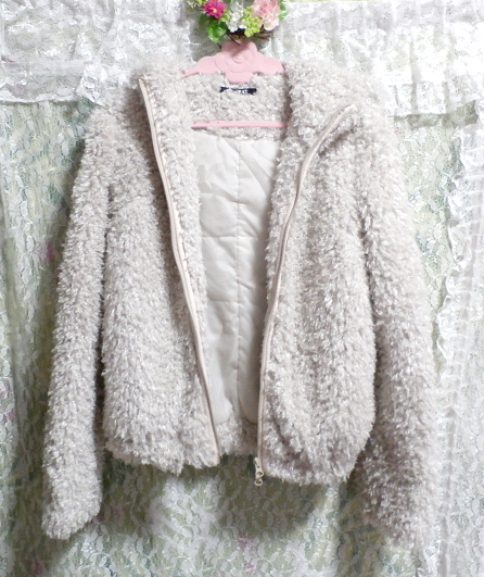 白グレーもこもこフワフワフード付きカーディガンコート/アウター White gray fluffy hooded cardigan coat/outer_画像2