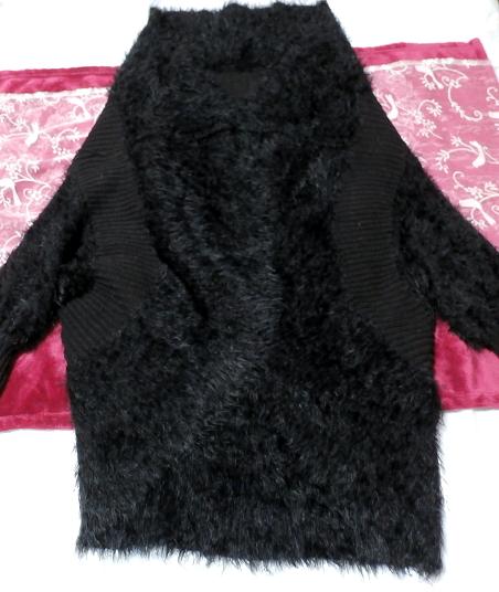 黒のあったか毛皮風カーディガン上着/羽織 Black warm cardigan jacket/coat_画像3