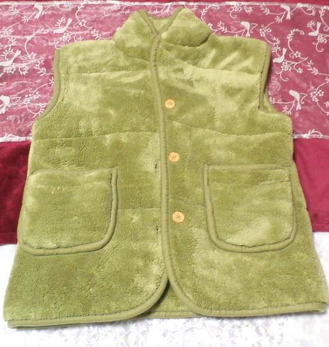 黄緑山吹色のフワフワあったかベスト/羽織 Yellow green Yamabuki color fluffy vest_画像4