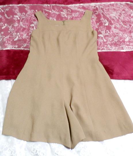 ベージュ亜麻色のシンプルな羽織カーディガンとワンピースキュロット2点セット Simple cardigan beige flax color culottes 2 piece set_画像6