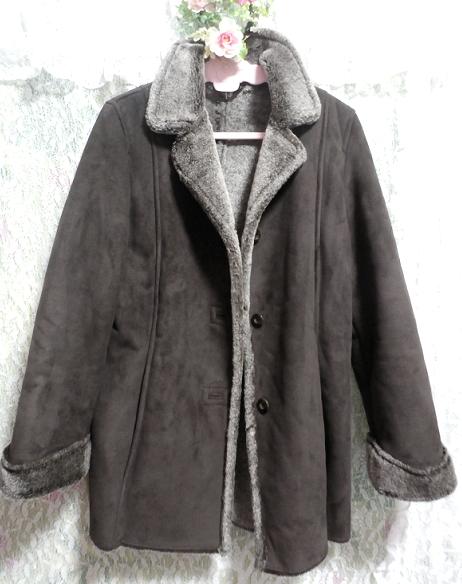 こげ茶色の襟形フワフワあったかコート/外套 Dark brown collar shape fluffy coat_画像3