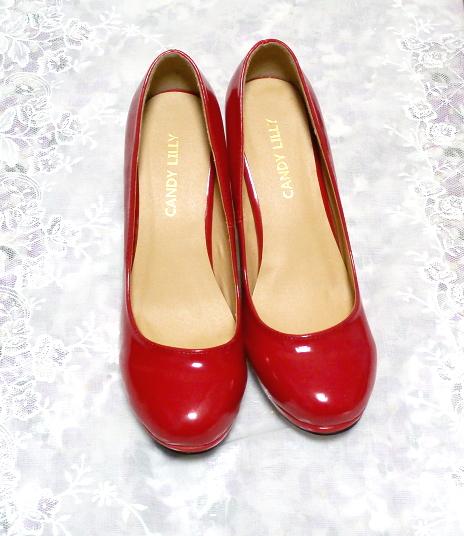ヒール10cm真っ赤なセクシーハイヒールパンプス靴 Heel 3.93 in red crimson sexy high heel pumps shoes_画像8