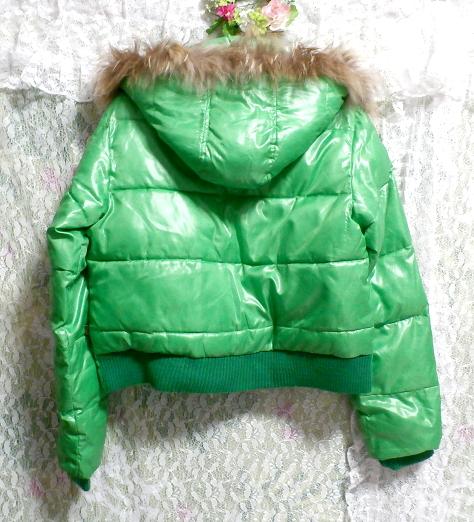 蛍光緑グリーンラクーンファーフード中綿ダウンコート/アウター Fluorescent green racoon fur hood down coat/outer_画像4