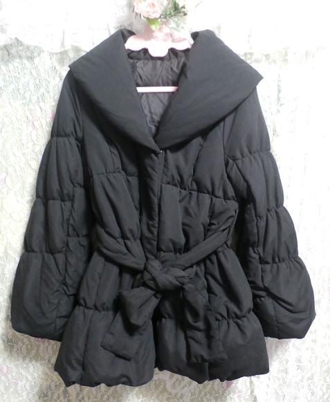 黒のダウンとフェザーのフードと帯び付きあったかコート/外套 Black feather hood down coat_画像4
