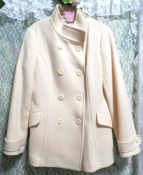 フローラルホワイト白の毛のシンプルショートコート/外套 Floral white hair simple short coat_画像4
