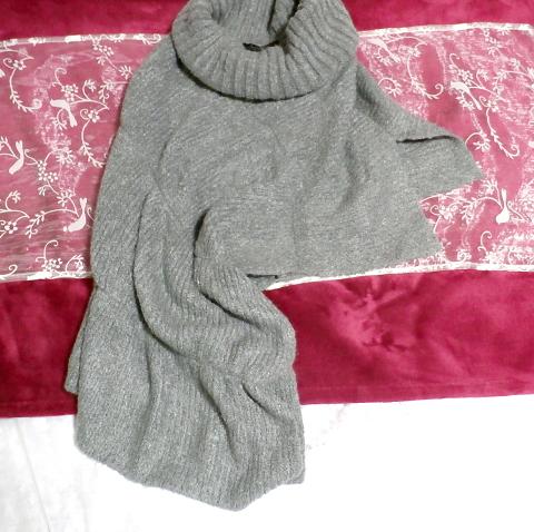 灰色グレーちょっと変わった形のセーターニット風ポンチョケープ Gray little unusual shape sweater knit style poncho cape_画像1