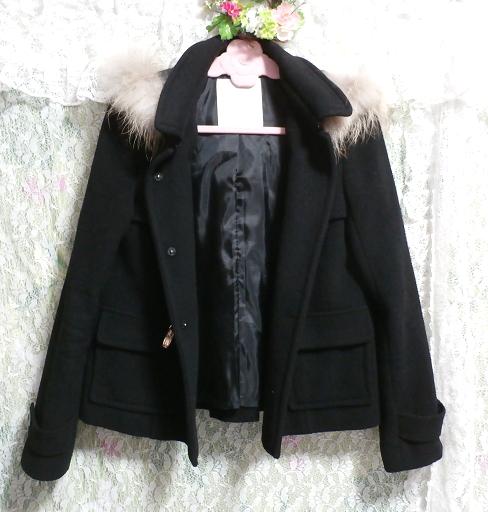 黒ブラックポンチョケープ風ラクーンファー毛皮フードコート/アウター Black poncho cape style racoon fur fur hood coat/outer_画像3