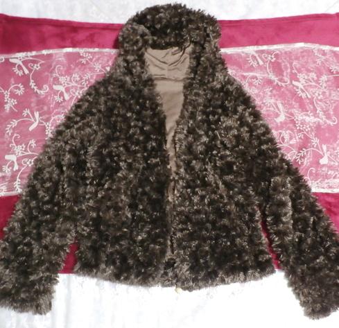 こげ茶色もこもこフワフワフード付きカーディガン/アウター Dark brown fluffy hooded cardigan/outer_画像4