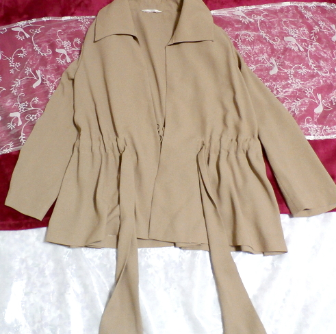 ベージュ亜麻色のシンプルな羽織カーディガンとワンピースキュロット2点セット Simple cardigan beige flax color culottes 2 piece set_画像7