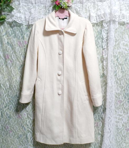フローラルホワイト白ウールとアンゴラロングコート/アウター Floral white wool angola long coat/outer_画像7