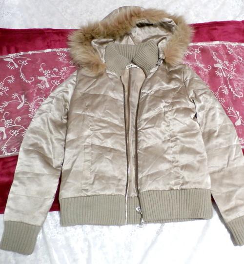 光沢ベージュ亜麻色ブルーフォックスファー毛皮フードダウンコート/アウター Shiny beige flax color blue fox fur hooded down coat/outer_画像3