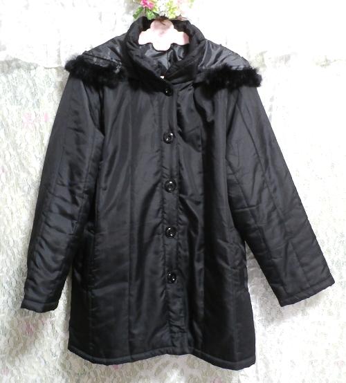 黒ブラックファーフードジャンパーコート/羽織/アウター Black fur hood jumper coat/outer_画像4
