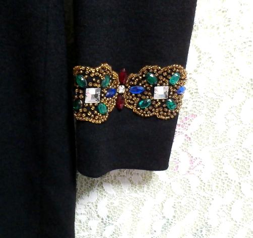 コスプレ用宝石付き黒ブラックローブセーター/トップス/ニット/ワンピース Cosplay jeweled black sweater/tops/knit/onepiece_画像5