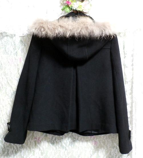 黒ブラックポンチョケープ風ラクーンファー毛皮フードコート/アウター Black poncho cape style racoon fur fur hood coat/outer_画像5