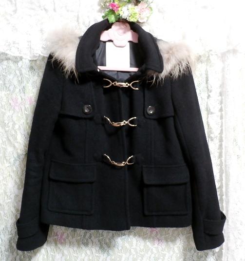 黒ブラックポンチョケープ風ラクーンファー毛皮フードコート/アウター Black poncho cape style racoon fur fur hood coat/outer_画像4
