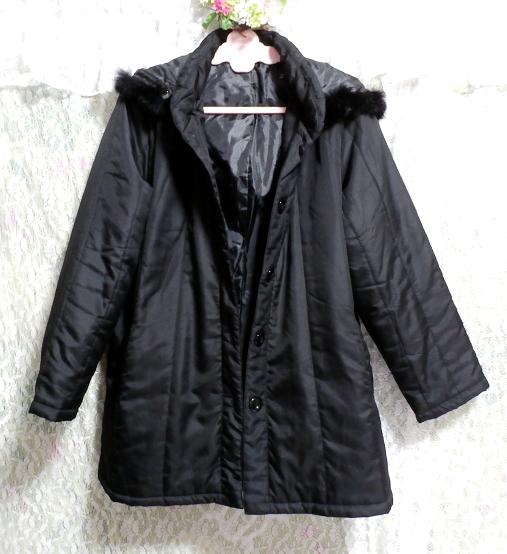 黒ブラックファーフードジャンパーコート/羽織/アウター Black fur hood jumper coat/outer_画像2