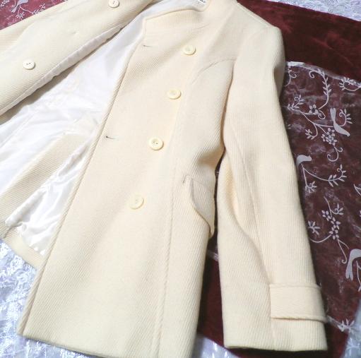 フローラルホワイト白の毛のシンプルショートコート/外套 Floral white hair simple short coat_画像2