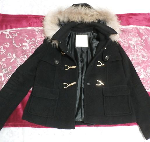 黒ブラックポンチョケープ風ラクーンファー毛皮フードコート/アウター Black poncho cape style racoon fur fur hood coat/outer,コート&毛皮、ファー&ラクーン