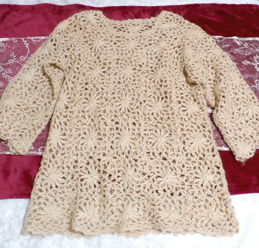 淡い茶色編みセーター/トップス/ニット Light brown braided sweater/tops/knit_画像3